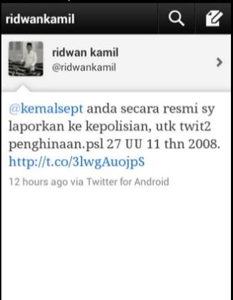 Walikota Bandung Secara Resmi melaporkan pemilik akun @kemalsept karena telah menghina kota Bandung